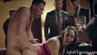 BUSINESSMAN TAUNT AND HUMILIATE ESCORT WHILE GANGBANG
