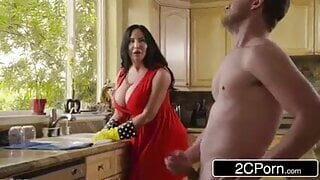 Stepmom and stepson have sex in the kitchen